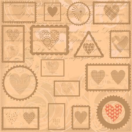 Фон с почтовыми марками