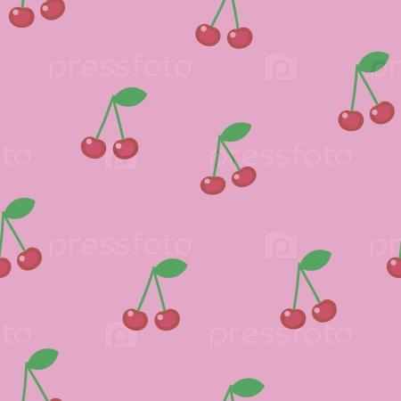 Красные ягоды вишни с зелеными листьями