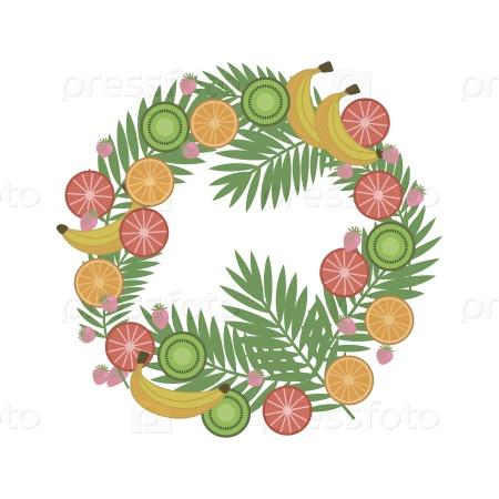 Венок из тропических фруктов и ягод с пальмовыми ветвями