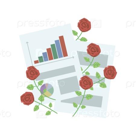 Набор офисных листов бумаги с красными розами на белом фоне