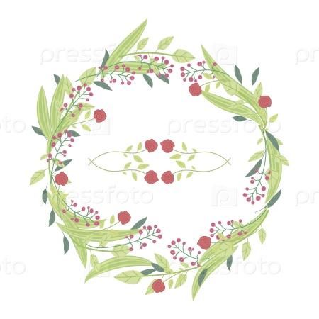 Венок из красных роз в светло-зеленых листьях