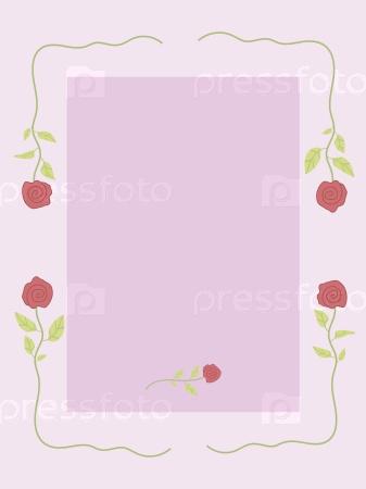 Розовая открытка с узором из алых роз