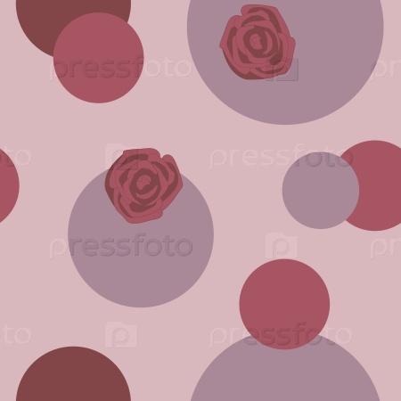 Красные розы и круги на светлом фоне