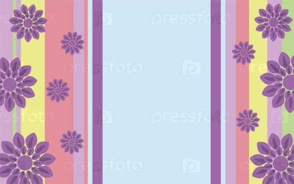 Яркий красочный фон с полосками и цветами