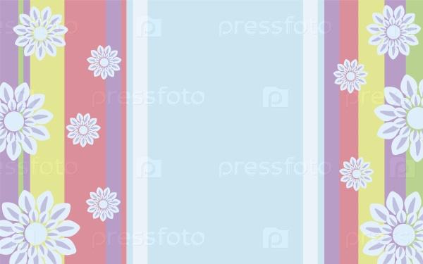 Яркий красочный фон с полосами и цветами