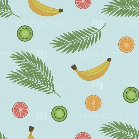 Ветви пальмы и яркие сочные фрукты фон