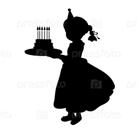 Силуэт девочки с тортом