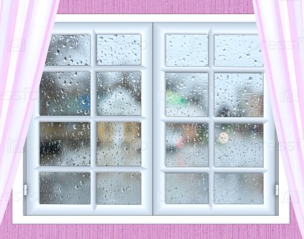 Оконное стекло с каплями дождя
