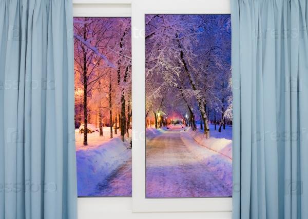 Зимний пейзаж за окном