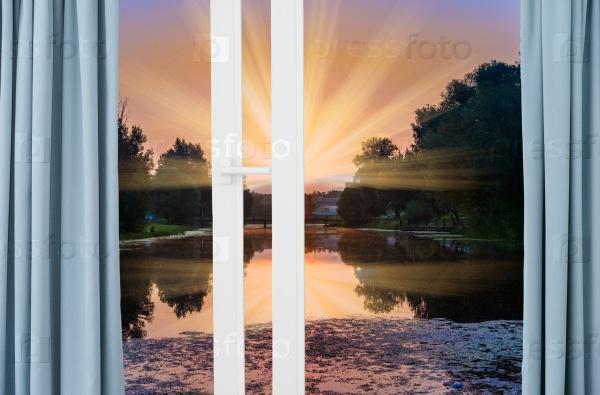 Вид из окна на пруд