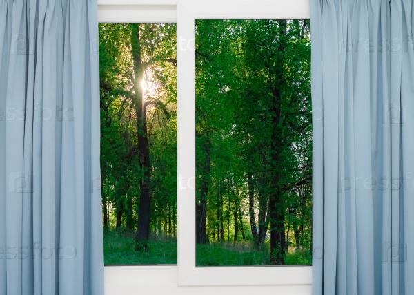 Вид восхода солнца из окна