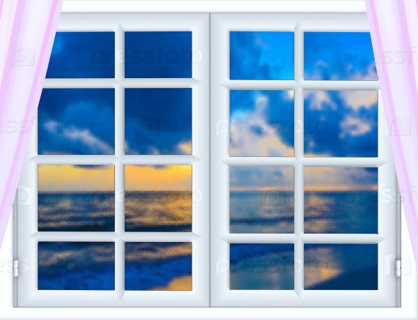 Море из окна с занавесками открытыми