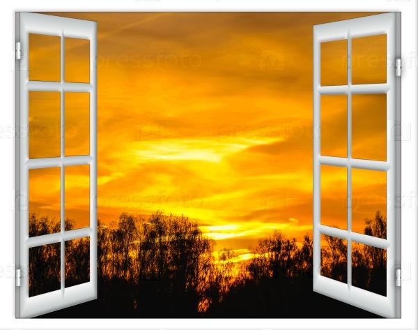 Открытое окно и закат