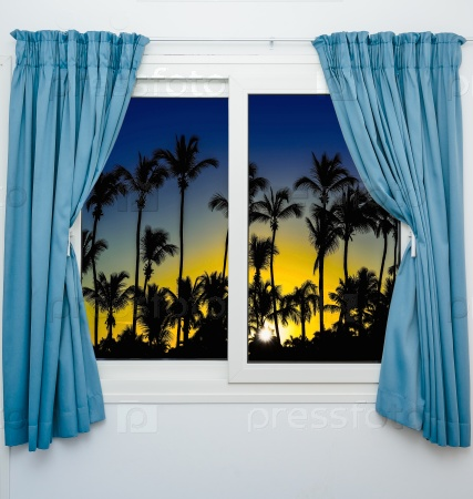 Вид из окна на рассвете