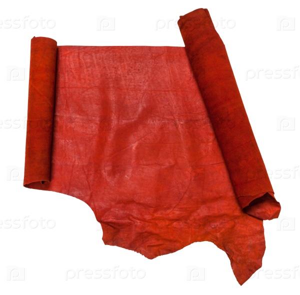 Развернутый рулон красной кожи