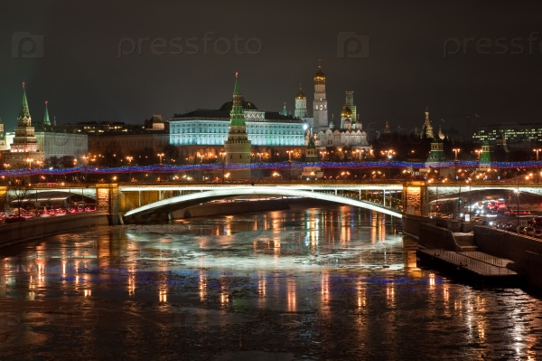 Московский Кремль в ночное время