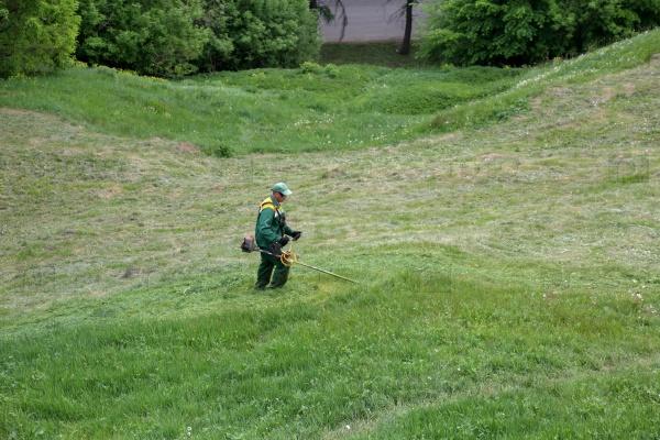 Газонокосильщик в городском парке