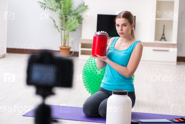 Sport blogger recording video for vlog