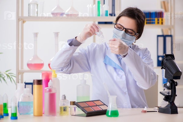 Lab chemist checking beauty and make-up products