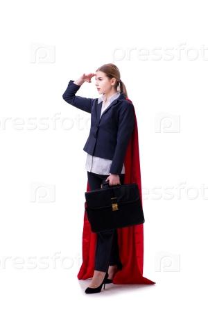 Superhero woman isolated on white background