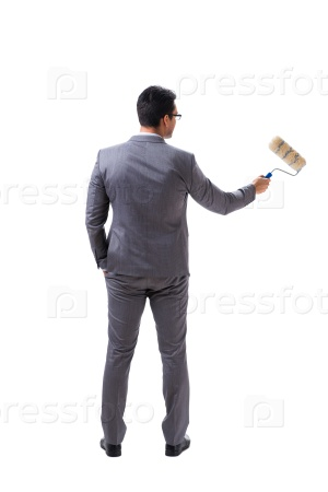 Businessman painter isolated on white background