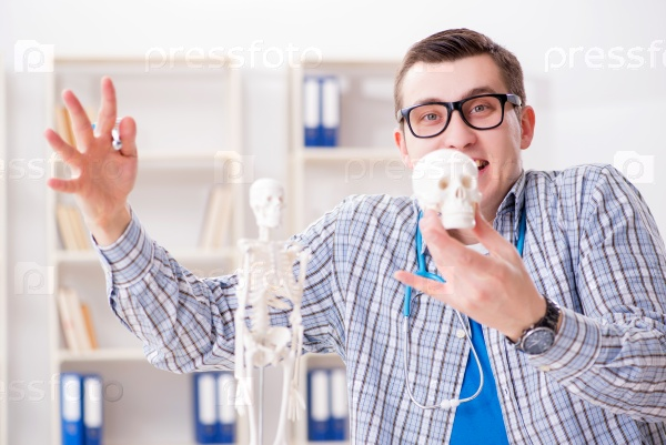 Medical student studying skeleton in classroom during lecture