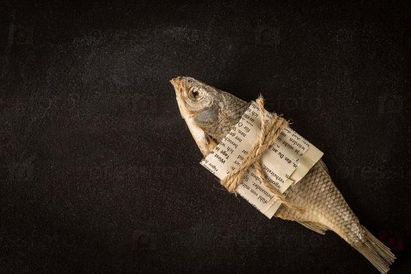 Сушеная рыба на темном фоне